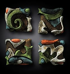 Carved clay boxes by Deb LeAir