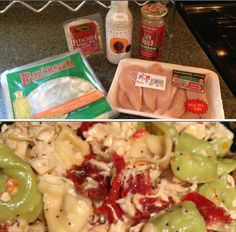 My pasta chicken salad! Delicious served hot or cold. SO EASY! Ingredients: Tortellini, chicken breast (boiled), sun dried tomatoes, feta & Briana's Poppyseed dressing. Optional: Bacon and/or walnuts.