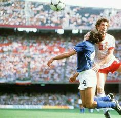 Italy 2 Poland 0 in 1982 at Camp Nou, Barcelona. Antonio Cabrini makes an excellent clearance at the World Cup Semi Final.