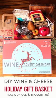 AD: Need a thoughtful gift for a wine lover in your life? Surprise them with an easy wine & cheese gift basket. You can make it as simple or fancy as you like. Want to make it special & fun for the holidays? Include a limited-edition wine advent calendar from #TomThumb so your recipient can have fun tasting a new wine each day in December leading up to Christmas. Keep reading for more tips, ideas & inspiration. And remember, always drink responsibly! Cheese Gift Baskets, Cheese Gifts, Wine Cheese, Real Food Recipes, Vegan Recipes, Fun Recipes, Sweet Recipes, Cake Recipes, Dessert Recipes