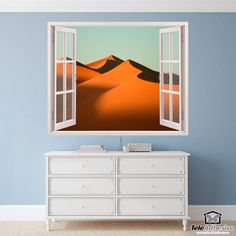 Wall mural Dunes in the desert. Decorative vinyl that simulates a window open to a beautiful landscape of dunes in the desert. Window Wall, Wall Stickers, Windows, Furniture, Home Decor, Dune, Special Effects, Wilderness, Vinyls