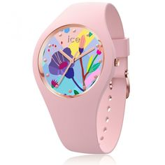 99€. Boitier rond silicone rose 34mm taille S, cadran motif fleur multicolore, bracelet silicone rose, étanche 100m Ice Watch, Bracelet Silicone, Pink Garden, Stainless Steel Material, Powder Pink, Pop Art, Quartz, Rose Gold, Jewels