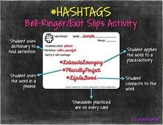 Perfect for using in interactive reading, writing, or vocabulary journals: Common Core Hashtags #Reading  #Vocabulary Bell Ringer Activities
