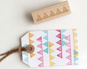 Triangle Banner Rubber Stamp (Wood Mounted) Abstract Geometric Design with optional wooden handle, Petites Collection (SP502)