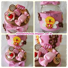 Foam Crafts, Arts And Crafts, Decoupage Jars, Clay Jar, Happy Mother S Day, Pasta Flexible, Sugar Rush, Polymer Clay Crafts, Candyland