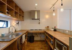 Milky Way Train | 注文住宅なら建築設計事務所 フリーダムアーキテクツデザイン Wooden Kitchen, Rustic Kitchen, Kitchen Dining, Kitchen Decor, Shed Interior, Simple Interior, Kitchen Interior, Dark Kitchen Cabinets, Kitchen Countertops