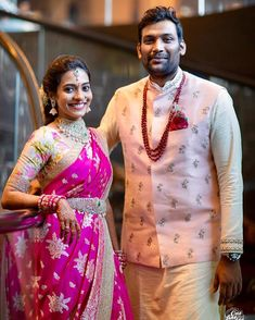 So graceful together! Bride's pink saree Groom's outfit Makeup & hair… Engagement Dress For Groom, Wedding Outfits For Groom, Engagement Outfits, Wedding Dresses Men Indian, Wedding Dress Men, Groom Outfit, Groom Dress, Kids Dress Wear, Indian Groom Wear