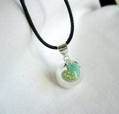 Silver Pregnancy necklace- Mexican bola necklace with mint heart and gold flake details- New mum gift- Harmony ball