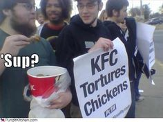 Political pictures kfc tortures chickens peta protest