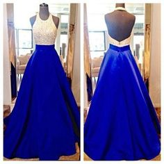 Elegant Backless Prom Dress, Blue Halter Long Prom Dress, Long Evening Dress,Evening Party Dress by fancygirldress, $189.00 USD