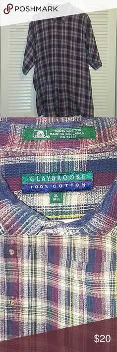 NWOT CLAYBROOKE XL TALL Plaid Shirt NWOT CLAYBROOKE XL TALL RED BLUE TAN PINSTRIPE YELLOW PLAID 100 % Cotton CLAYBROOKE Shirts Casual Button Down Shirts