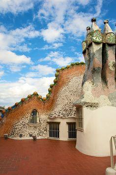 dragon (back) and chimneys on the roof  Casa Batllo by Antoni Gaudi / Barcelona