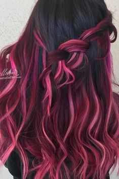 Brown Hair With Pink Highlights, Purple Brown Hair, Pink And Black Hair, Hot Pink Hair, Short Brown Hair, Hair Color For Black Hair, Brown Hair Colors, Pretty Hair Color, Beautiful Hair Color