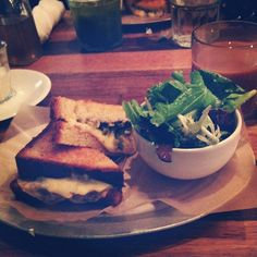 """@daina_a's photo: """"One of my favorite meals in NYC- Gouda grilled cheese with pickled jalapeños, guava jam, and black bean hummus. Delicious."""""""