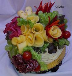 Torta narodeninová Sandwich Cake, Sandwiches, Buffet, Culinary Arts, Food Presentation, Food Art, Cobb Salad, Brunch, Baking