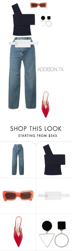 """Take it slow"" by fashionoise ❤ liked on Polyvore featuring Levi's, Rosetta Getty, Linda Farrow, Off-White and Attico"