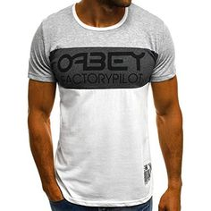 T-Shirt Kurzarm Shirt mit Motiv U-Neck Slim Fit Fitness OZONEE JS//10872 Herren