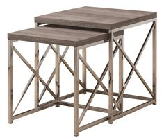3255 Dark Taupe / Chrome 2Pcs Nesting Tables