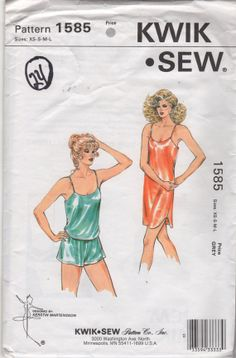 Kwik Sew 1585 80s Misses LINGERIE Pattern Camisole Panties Slip Nightgown womens vintage sewing pattern by mbchills