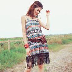 Multicolor Fringed Tribal H-line Midi Dress Bohemian, Dresses, Fashion, Vestidos, Moda, Fashion Styles, Boho, The Dress, Fasion