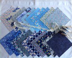 Beautiful blues, 20 x 5, cotton squares for charm quilts
