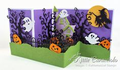 I'd love for you to check out how I made this fun Z Fold Box Spooky House Halloween Card made using dies by Rubbernecker Stamps. Halloween Scene, Halloween Cards, Halloween Snacks, Halloween House, Craft Stick Crafts, Paper Crafts, Cloud Stencil, Girls Dollhouse, Spooky House