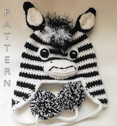 Zebra Crochet Hat
