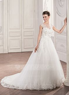 Ball-Gown Scoop Neck Chapel Train Beading Appliques Lace Sequins Bow(s) Zipper Up Covered Button Cap Straps Sleeveless Church General Plus No Winter Spring Summer Fall Ivory Tulle Wedding Dress