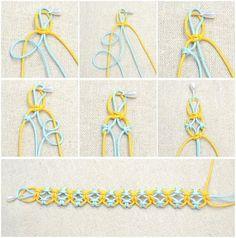 Bracelet Fil, Bracelet Crafts, Jewelry Crafts, Diy Jewellery, Jewellery Making, Antique Jewellery, Bracelet Making, Macrame Knots, Macrame Bracelets