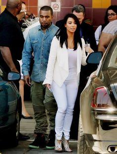 All white ensemble: cape + tee+ pants