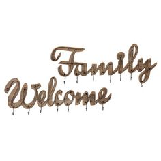 Laurel Foundry Modern Farmhouse Welcome and Family 2 Piece Wall Hook Set