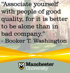 """Associate yourself with people of good quality, for it is better to be alone than in bad company."" - Booker T. Doctor Of Pharmacy, North Manchester, Marcus Aurelius Quotes, Liberal Arts College, Better Alone, Booker T, Athletic Training, Word Families, Monday Motivation"