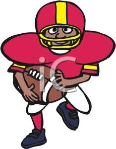 cartoon football player running with the ball royalty free