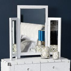Glittery freestanding 3 way mirror embedded with clear shimmery gemstones. Beautiful sparkly frame covered with thousands of tiny clear crystals 3 Way Mirrors, Mirrored Bedroom Furniture, Dressing Table Mirror, Identity Theft, Sparkles Glitter, Beveled Mirror, Tri Fold, Clear Crystal, Vanity