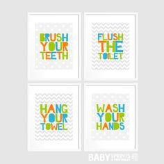 Digital kids bathroom art Set of 4 8x10 Polka by babyartprints, $12.00