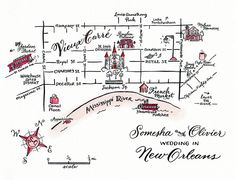 French Quarter, New Orleans. New Orleans Map, J Park, Types Of Lettering, Welcome Bags, Maui Weddings, Pen And Paper, Wedding Invitations, Invites, Wedding Favors
