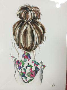 Hair art bun top knot Brown Cacti Cactus Tattoo Illustration Watercolor 8 x 10 Haar Kunst Brötc Cactus Tattoo, Tattoo Illustration, Flower Art Painting, Illustration, 8x10 Art Prints, Flower Art, Lovely Print, Hair Illustration, Giclee Art Print