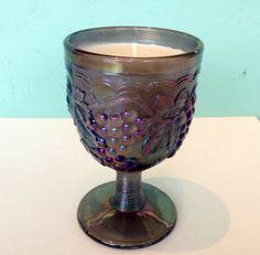 Frankincense Scented Candle in Iridescent Blue Vintage Pressed Glass Goblet