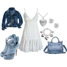 """""""Sometimes The Blues Are a Good Thing"""" by deborah-simmons on Polyvore (and they have the shoes in blue too! LOVE!)"""