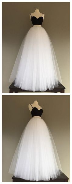 TWO PIECES PROM DRESS BLACK WHITE SPAGHETTI STRAPS TULLE SIMPLE EVENING DRESS AM709 #amyprom  #fashion #party #evening #chic #promdress #promdresslong #longpromdress #eveningdress #twopieces