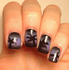 """Palm Tree Silhouette -  Products: """"Secret peri-wink-le"""" by China Glaze """"Lilac-ing discipline"""" by Nina """"Licorice"""" by Essie Black acrylic paint"""