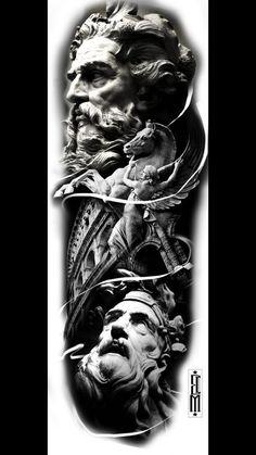 tattoo zeus preto e cinza ; Zeus Tattoo, Statue Tattoo, Hades Tattoo, Poseidon Tattoo, Body Tattoo Design, Full Sleeve Tattoo Design, Arm Sleeve Tattoos, Gott Tattoos, Greek God Tattoo