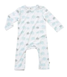 "Baby boy long sleeve romper, features Hoot Baby signature elephant print.  Snaps at neck and leg openings. Pair it as a gift with the any styles from the elephant essentials collection. 100% Cotton ""A Layette range, Hoot Baby is for newborns thru to 12 months. Designed with heaps of personality, superior fabrics, and function in mind, Hoot Baby provides the ultimate in comfort and style"" $7.95 local shipping, free shipping on all Aust wide orders over $150!"