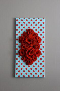 Red and Aqua 3D Wall Art, Red and Aqua Polka Dots, 12x24 Red and Aqua Canvas, Nursery Art, Baby Girl, Baby Boy, Wall Decor. $45.00, via Etsy.