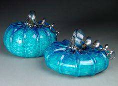 Hand Blown Glass Pumpkin  Aquamarine Jewel Tone by dunnikerdesigns, $90.00