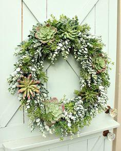 Succulent Wreath Faux Succulent Wreath Year by DaisyMaeBelle