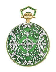 c.1910 Tiffany & Co. Edwardian enamel, diamond pendant-watch