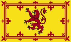 "The Royal Standard of Scotland, more commonly known as the ""Lion Rampant of Scotland"" is the Scottish Royal banner of arms. The flag is yellow with a with a red border and a red lion in the center. Th"