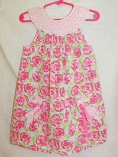 MUD PIE Girls Sz 5T Pink Bunny Dress Smocked Neckline Flowers Pockets Easter #MudPie #CasualParty