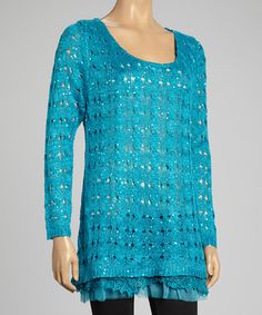 This Turquoise Sequin Linen-Blend Sweater Tunic by Pretty Angel is perfect! #zulilyfinds